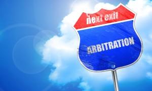 arbitration, 3D rendering, blue street sign