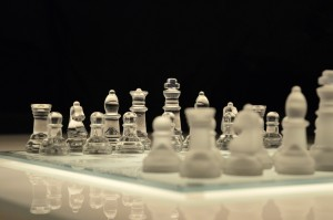 chess board with glass pieces